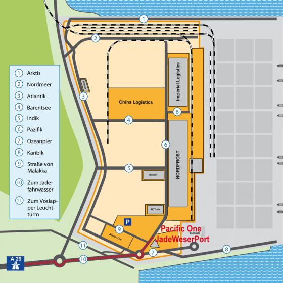 Anfahrtskarte zum JadeWeserPort